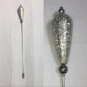 Vintage hat stick pin silver large teardrop